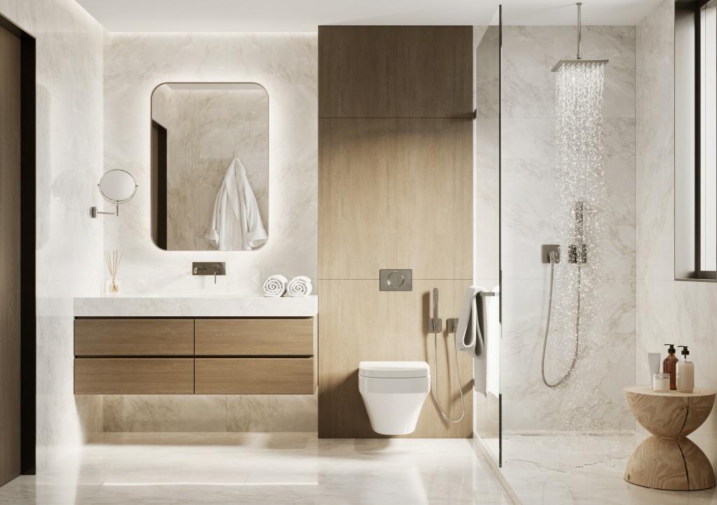 Salle de bains avec une douche et une colonne de douche encastrée